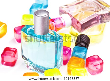 several perfume bottles of different flavors, high color - stock photo