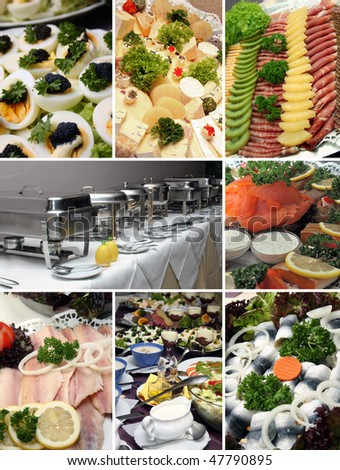 several pictures of a cold buffet - stock photo