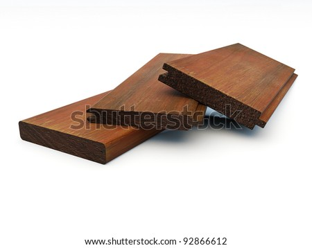 several pieces of grooved wooden boards - stock photo