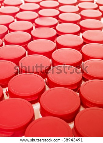 Several Plastic cans from above - stock photo