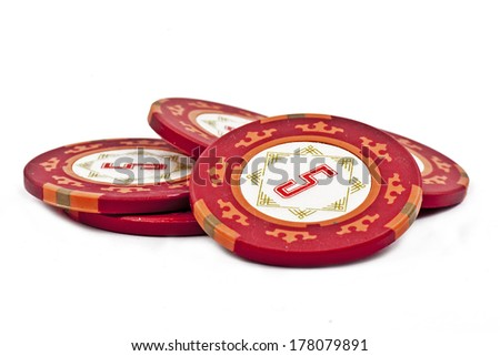 Several poker chips isolated on white background - stock photo
