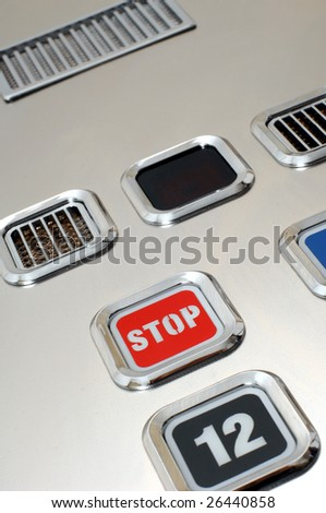 several push buttons on the elevator panel - stock photo