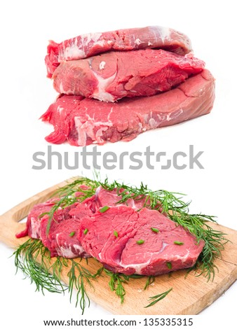 several raw beef on wooden board and white background