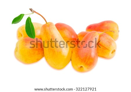 Several ripe red and yellow European pears on a light background. Isolation. - stock photo
