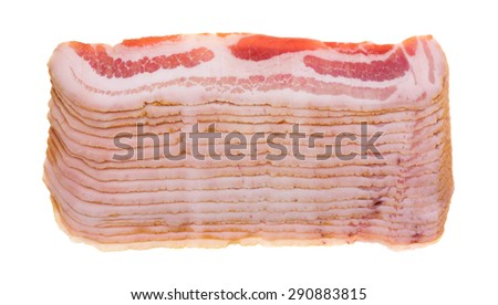 Several rows of sliced fatty bacon isolated on a white background. - stock photo