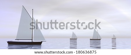 Several sailing boats floating on the water in front of hard white sun