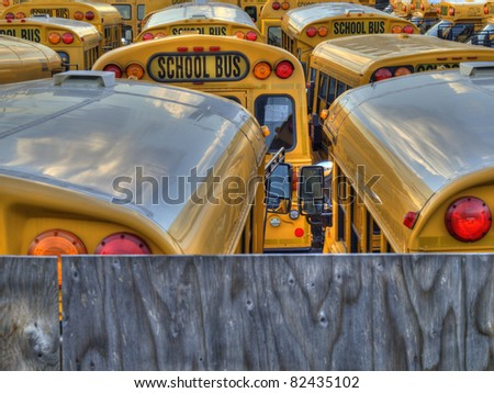 Several school buses in a parking lot. - stock photo