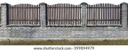 Several sections of a rustic style fence. Columns from a white beaten brick. A lattice from old brown pine boards. Isolated. Panoramic handmade object and collage  - stock photo