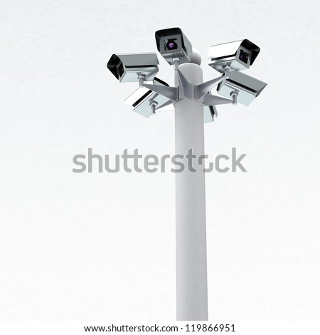 Several security cameras filming all around, 3d image - stock photo