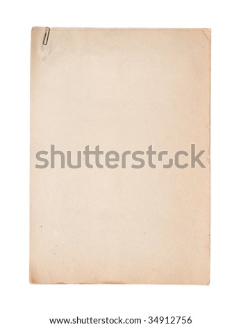 several sheets of empty old paper held together with paperclip (isolated on white) - stock photo
