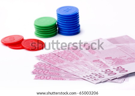 several sheets surrounded by euro banknotes - stock photo