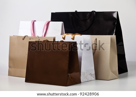 Several shopping bags.