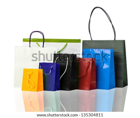 Several shopping bags on white