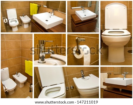 Several shots of bathroom details - stock photo