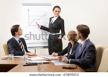 Several smart business people discussing new principles of work at seminar - stock photo