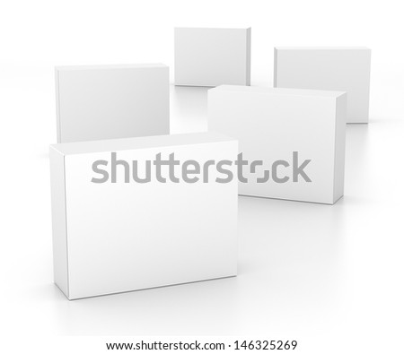 several standing blank boxes isolated on white. 3d render - stock photo