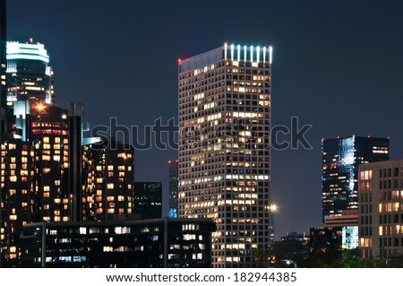 Several tall skyscrapers in downtown Los Angeles. - stock photo