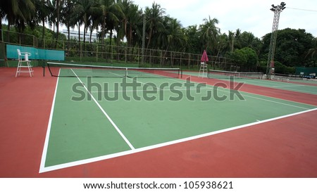 Several Tennis courts - stock photo