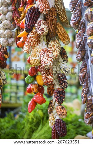 Several traditional varieties of corn on a marketplace in Lima  - stock photo