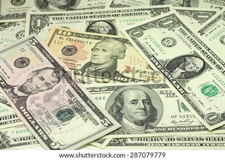 Several US dollars abstract background