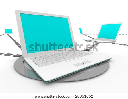 Several white laptop computers connected in a social network