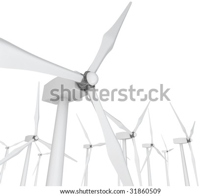 Several wind turbines against a clean white background - stock photo