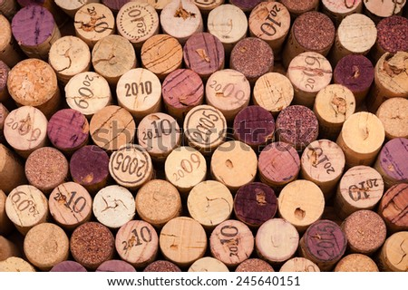 Several Wine Corks seen from above. The Vintage is printed on some of them. - stock photo