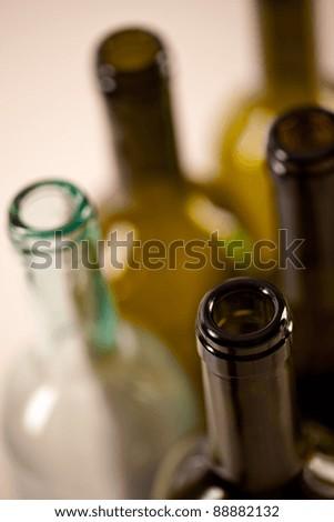 several wine glass bottles - stock photo
