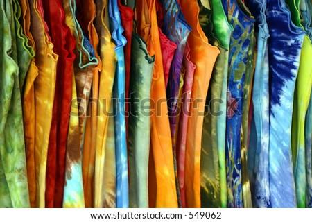 Several  Women's Multicolored Summer Dresses - stock photo