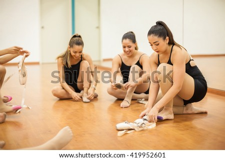 Group children engaged physical training gym stock photo for Dance where you sit on the floor