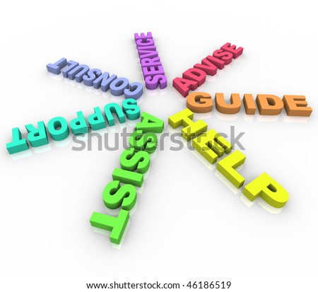 Several words such as Help and Assist in a ring - stock photo