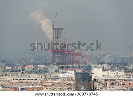 Severe air pollution in Paris - France - stock photo