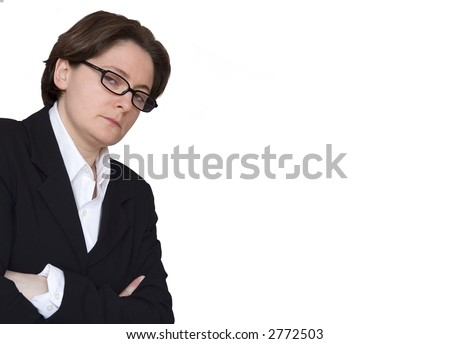 Severe businesswoman dressed in black and white. - stock photo