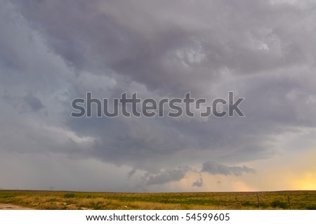 Severe storm in the dusk - stock photo