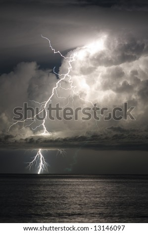 Severe thunderstorm and lightning out to sea