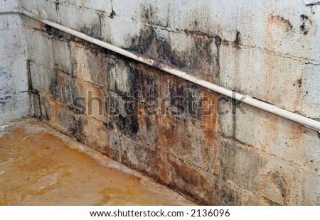 Severe water damage on a wall in a neglected basement. It's covered in dirt, cracks, mold and mildew. - stock photo