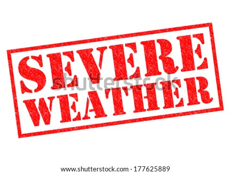 SEVERE WEATHER red Rubber Stamp over a white background. - stock photo