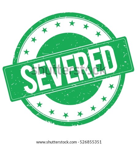 SEVERED stamp sign text word logo green.