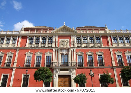 Sevilla in Andalusia, Spain. Beautiful old architecture. - stock photo