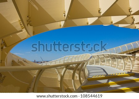 SEVILLA,SPAIN -JUNE 15: Metropol Parasol in Plaza de la Encarnacion on JUNE 15, 2012 in Sevilla, Spain. J. Mayer H. architects, it is made from bonded timber with a polyurethane coating. - stock photo
