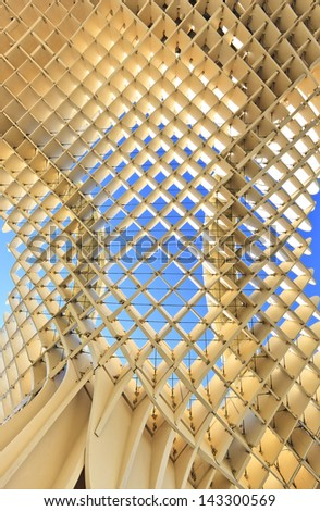 SEVILLA,SPAIN -MAY 02 15: Metropol Parasol in Plaza de la Encarnacion on MAY 02, 2013 in Sevilla, Spain. J. Mayer H. architects, it is made from bonded timber with a polyurethane coating. - stock photo