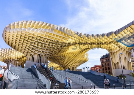 SEVILLA,SPAIN -MAY 09 : Metropol Parasol in Plaza de la Encarnacion on May 09, 2015 in Sevilla, Spain. J. Mayer H. architects, it is made from bonded timber with a polyurethane coating - stock photo