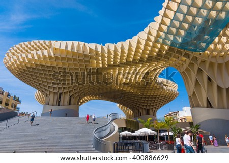 SEVILLA,SPAIN -MAY 09 : Metropol Parasol in Plaza de la Encarnacion on May 09, 2015 in Sevilla, Spain. J. Mayer H. architects, it is made from bonded timber with a polyurethane coating