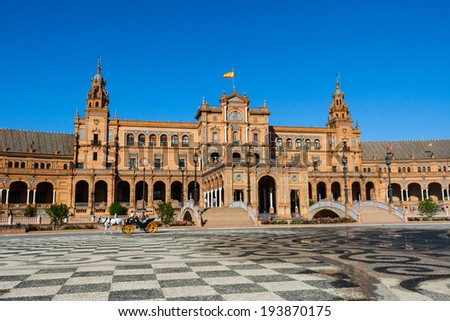 Sevilla, Spain - 18th May 2012: Central building at the Plaza de Espana.