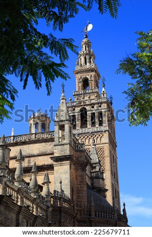 Seville, Andalusia, Spain, Seville Cathedral and The Giralda tower - UNESCO World Heritage site. - stock photo