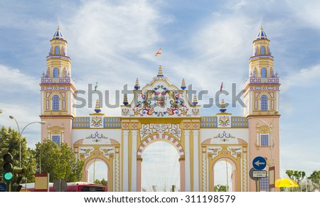SEVILLE - APRIL 23: An elaborate gate is erected each year during the Feria de Abril on April 23, 2015 in Seville, Spain. - stock photo