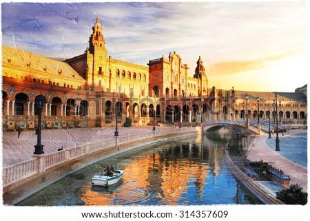 Seville- beautiful piazza Espana over sunset- artwork in paintin - stock photo
