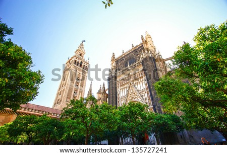 Seville cathedral in Sevilla , Spain - stock photo