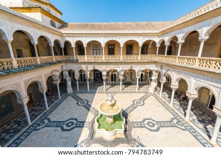 SEVILLE, ES - JULY 27, 2017: The Casa de Pilatos is a palace which combines the Italian Renaissance and Spanish Mudejar styles. It is considered the prototype of an Andalusian palace.