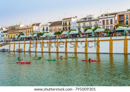 SEVILLE, ES - JULY 25, 2017: The Vela de Santa Ana, in Triana, Seville, have its origin in the pilgrimage that took place in the Royal Parish of Santa Ana at least since the late thirteenth century.